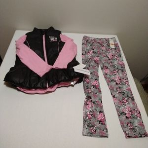 Calvin Klein Little Girls 3pc Puffy Vest Outfit